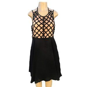Hot & Delicious Nude and Black Lattice Dress